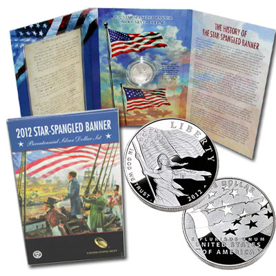 2012 STAR-SPANGLED BANNER BICENTENNIAL SILVER DOLLAR SET MINT CONDITION