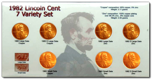 Village Coin Shop: 1982 7 Varieties Lincoln Set