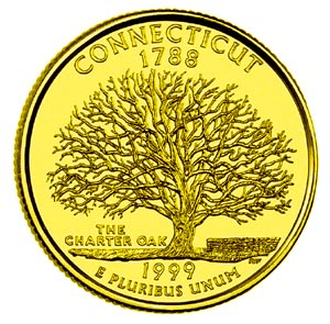 1999-D Gold Plated Quarter (Connecticut)  sc 1 st  Village Coin Shop & Village Coin Shop: 1999-D Gold Plated Quarter (Connecticut)